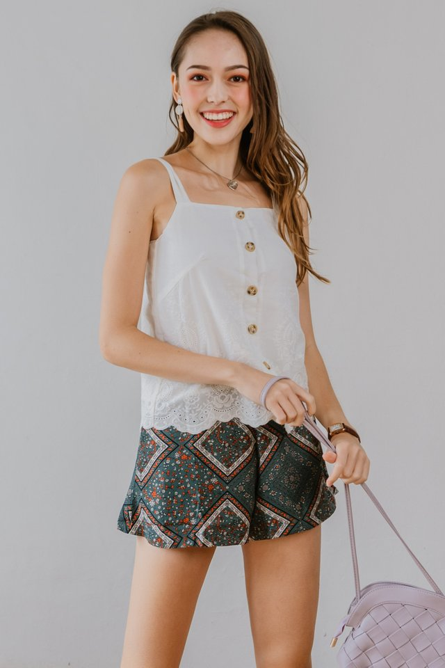 *BACK IN STOCK* ACW Batik Pocket Flare Shorts in Emerald
