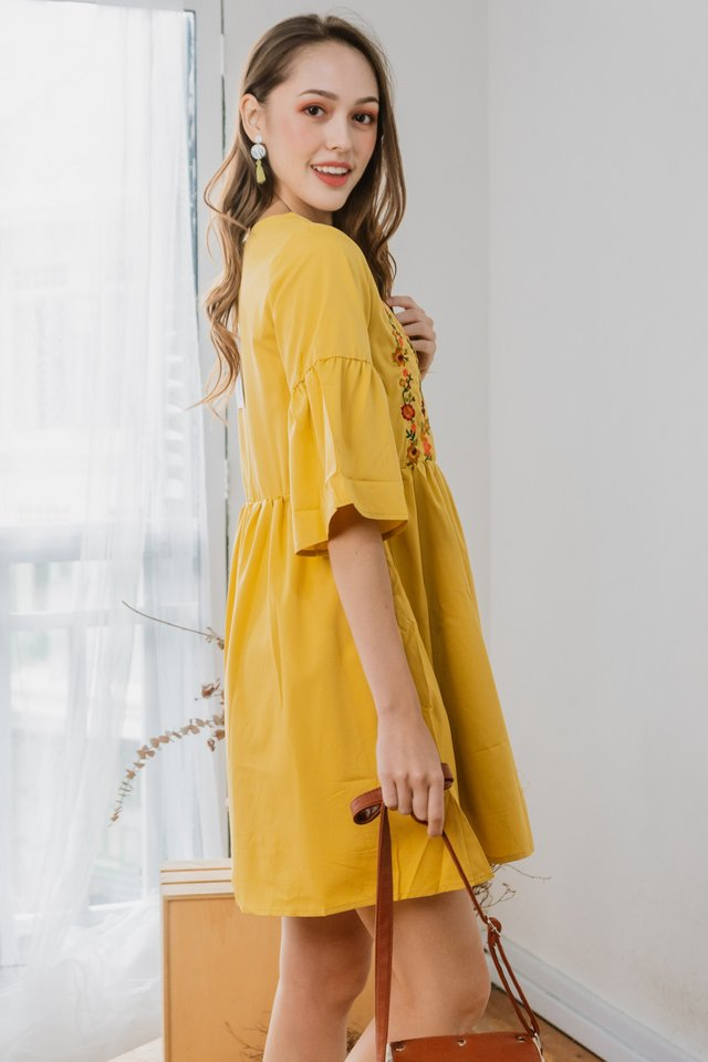 ACW Summer Flora Bell Sleeve Babydoll Dress in Daffodil