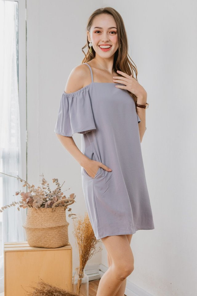 ACW Cold Shoulder Sash Dress in Dusty Grey