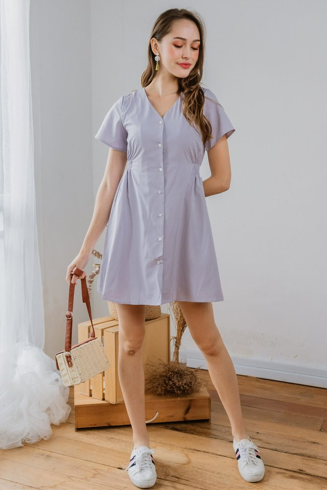 ACW Button Down A-Line Swing Dress in Dusty Grey