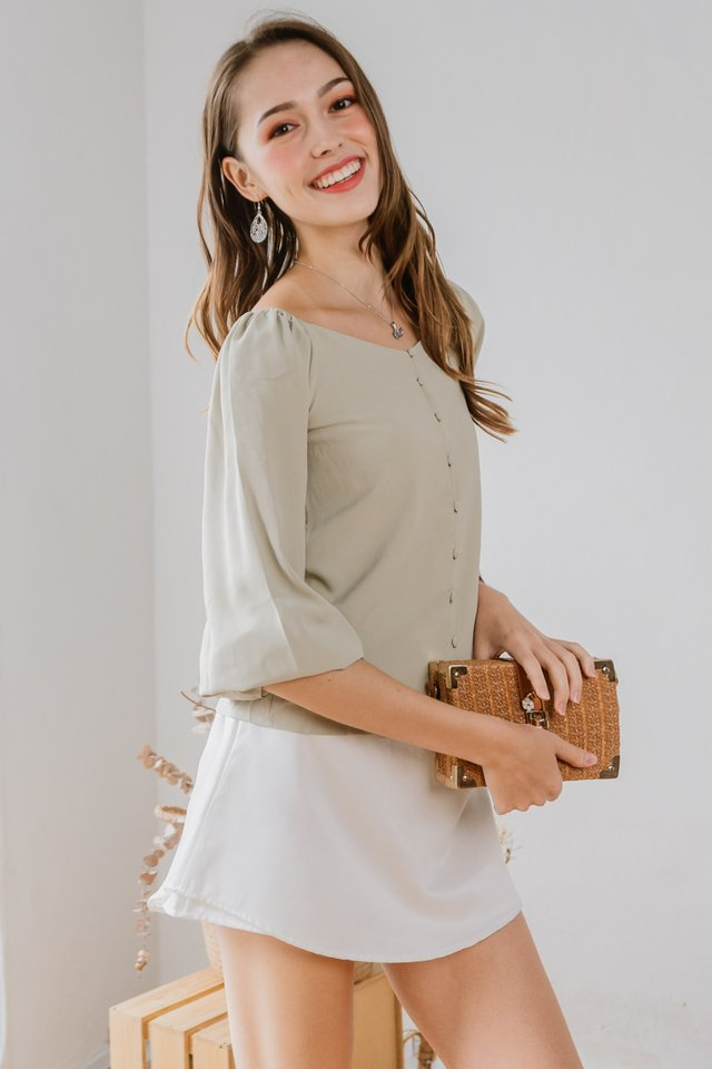 ACW Balloon Sleeve Button Down Top in Sage Green