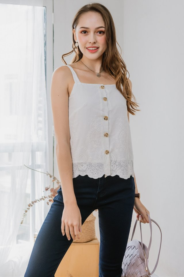ACW Eyelet Trimming Button Strap Top in White