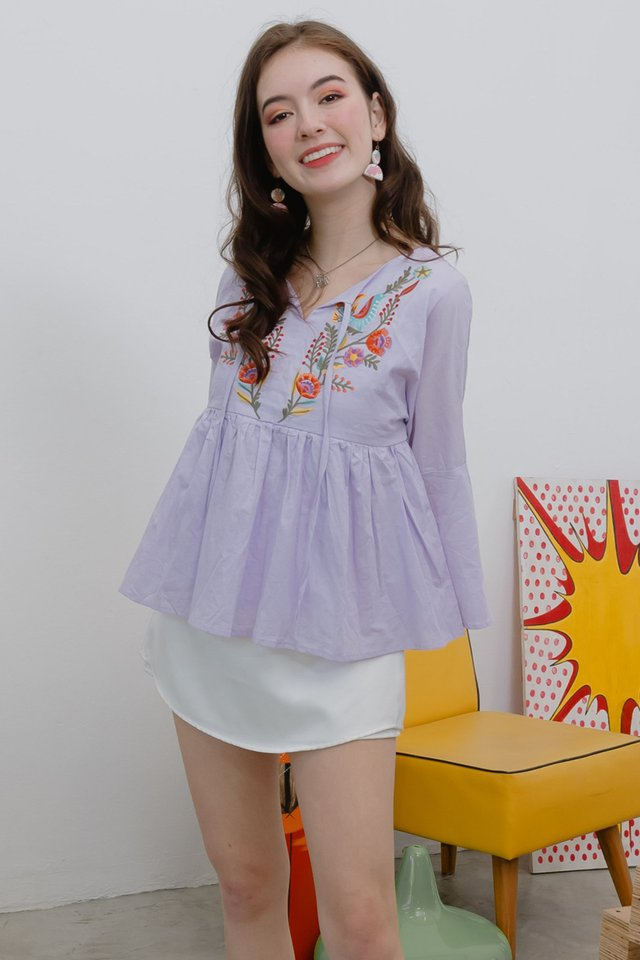 ACW Embroidery Bell Sleeve Top in Lavender