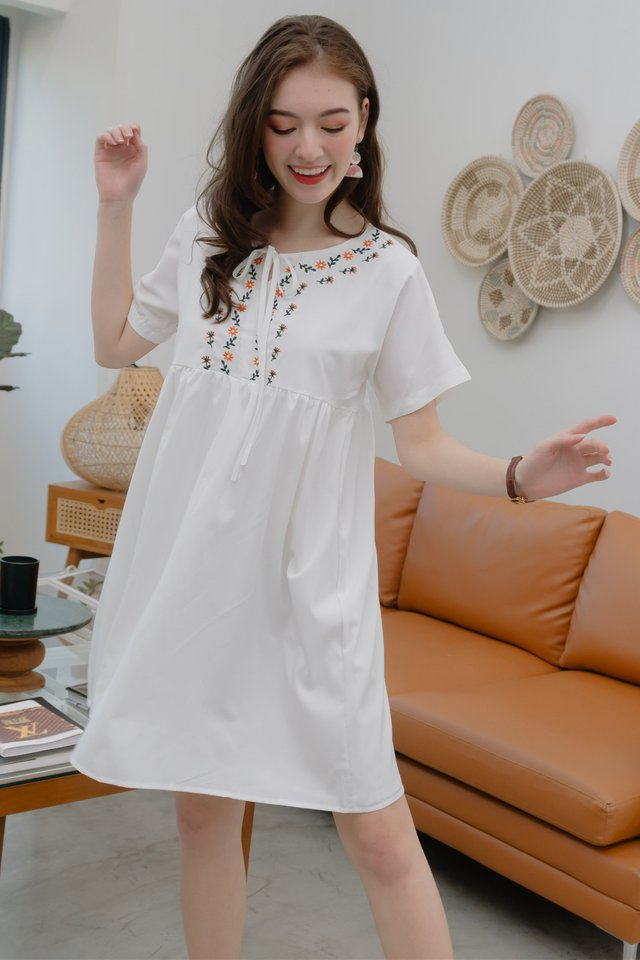 ACW Petit Sunflower Tie Front Babydoll Dress in White
