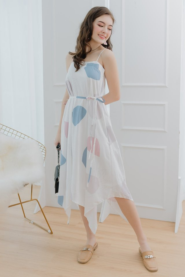 Pastel Abstract Shapes Tent Midi Dress in Sky Blue