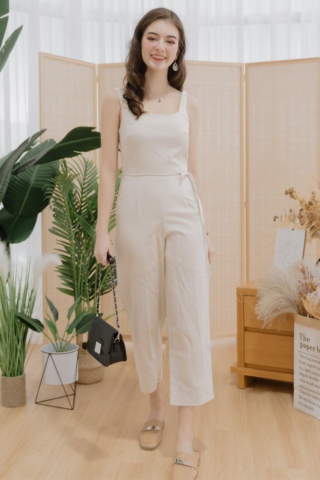 ACW Linen Square Neck Sash Jumpsuit in Sand