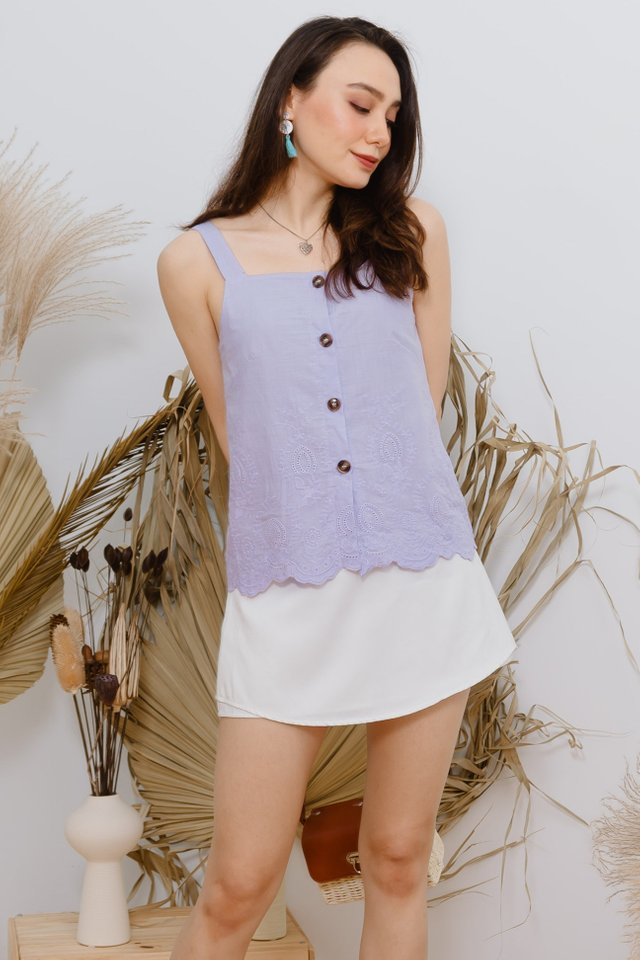ACW Eyelet Trimming Button Strap Top in Lilac