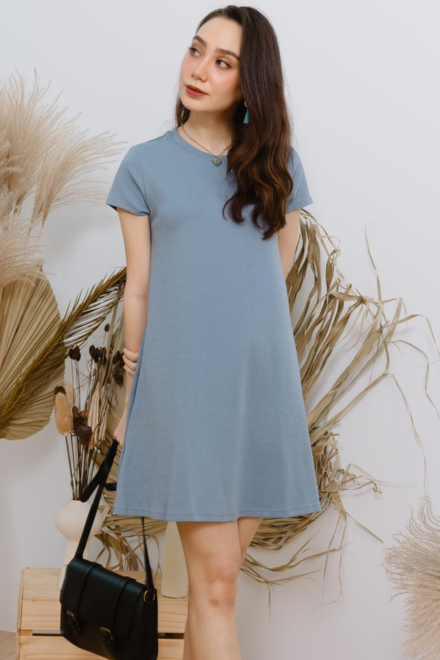 *BACK IN STOCK* ACW Basic Pocket A-Line Tee Dress in Sky Blue