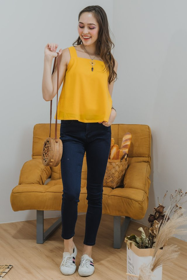 Knot Back Flare Swing Top in Mustard