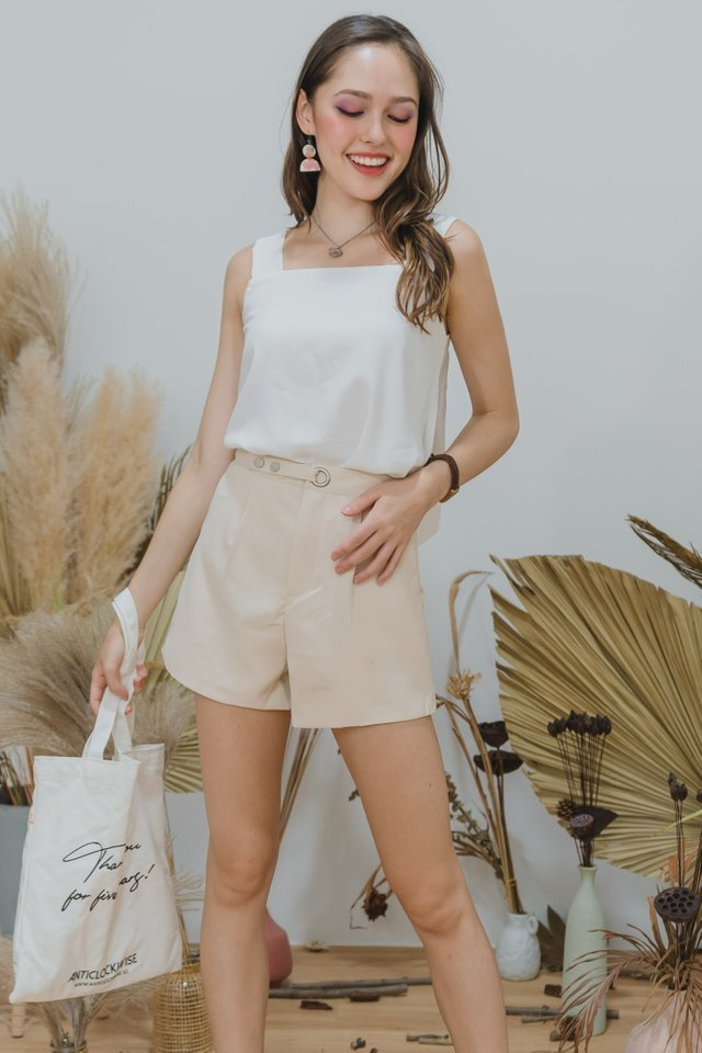 *Backorder* Circle Buckle High Waist Shorts in Ivory