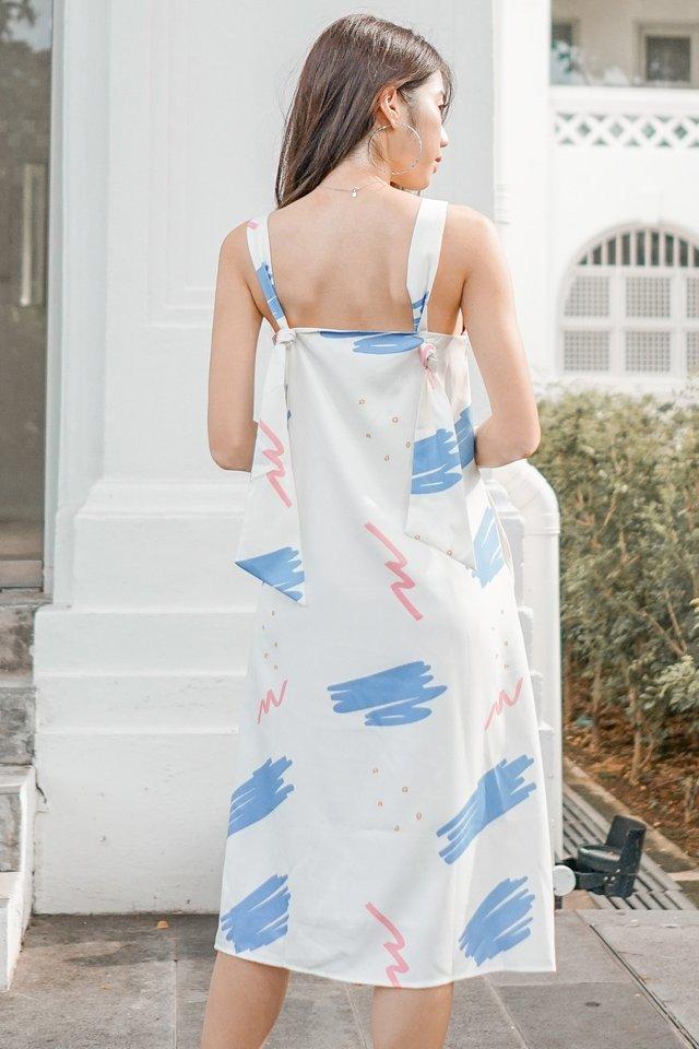 ACW Knot Tie Midi Dress in White Sketch Scribbles