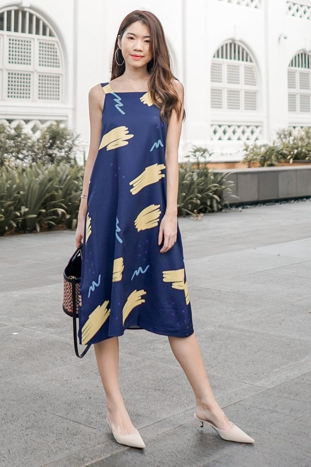 ACW Knot Tie Midi Dress in Navy Sketch Scribbles