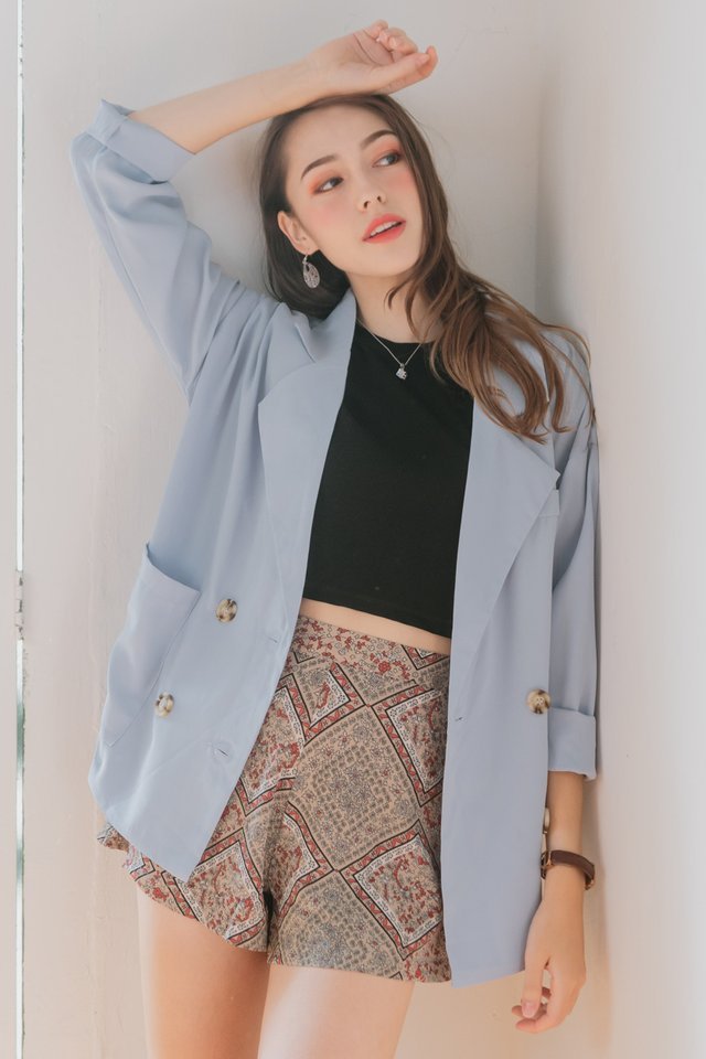 ACW Chiffon Oversized Blazer in Sky Blue