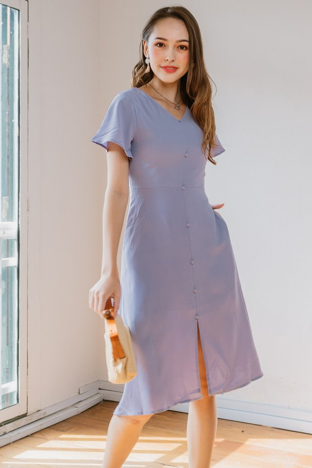 *BACK IN STOCK* ACW Button Panel Front Slit Midi Dress in Lavender