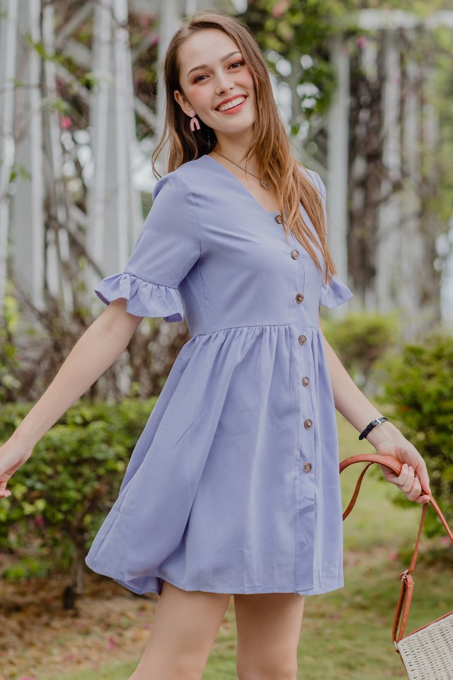 ACW Flutter Sleeve Button Down Babydoll Dress in Lavender