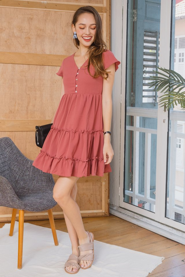 ACW Ruffle Button Down Babydoll Dress in Rosewood