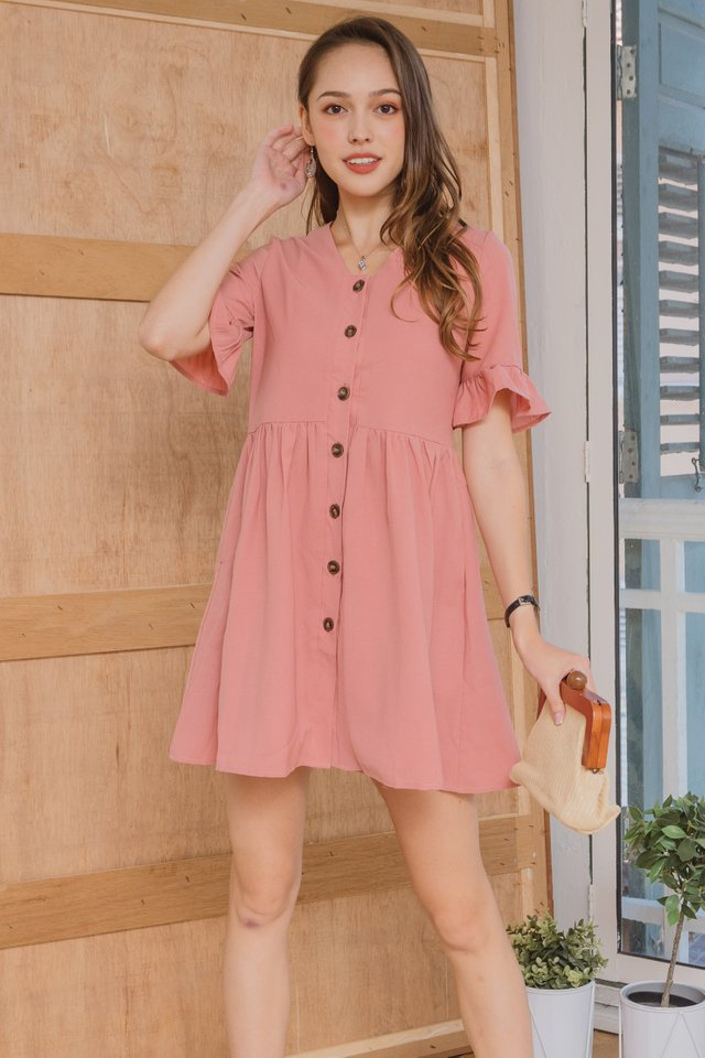 ACW Flutter Sleeve Button Down Babydoll Dress in Mauve
