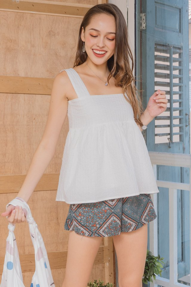 ACW Textured Flounce Top in White