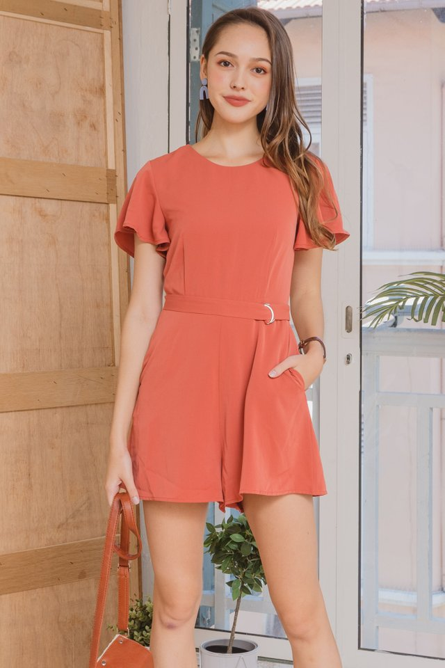 ACW Loop Buckle Belt Romper in Coral