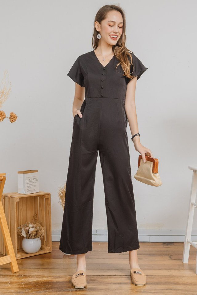 ACW Flutter Sleeve Jumpsuit in Black