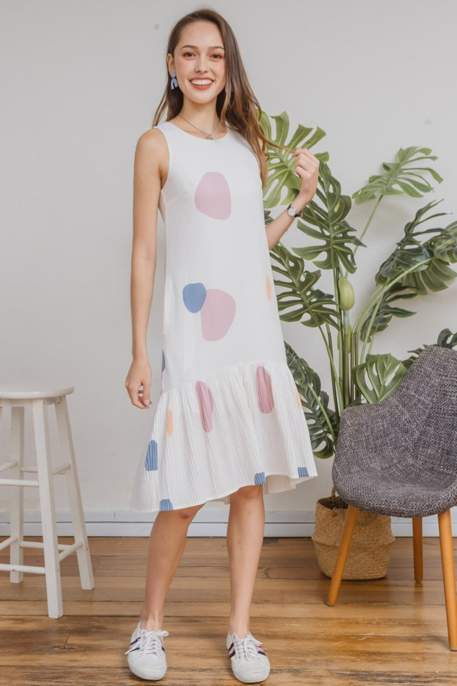 ACW Sleeveless Pleated Hem Midi Dress in Prints