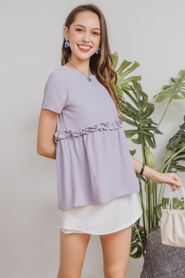 ACW Waist Ruffle Babydoll Top in Dusty Grey