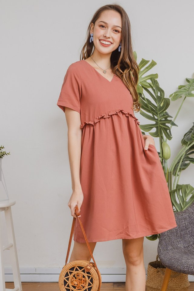 ACW Ruffle Babydoll Dress in Terracotta