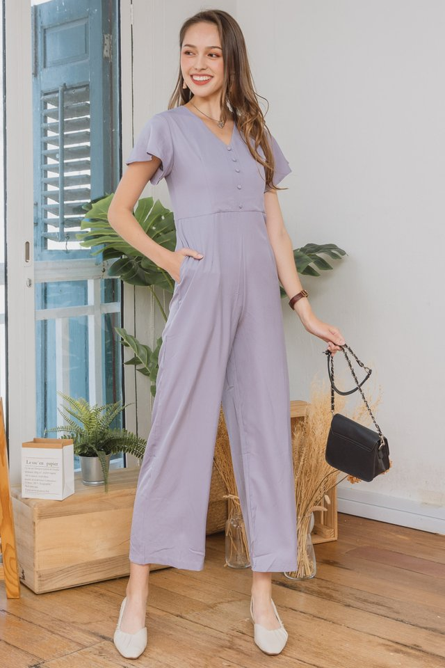 ACW Flutter Sleeve Jumpsuit in Dusty Grey