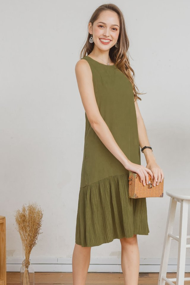 ACW Sleeveless Pleated Hem Midi Dress in Olive Green