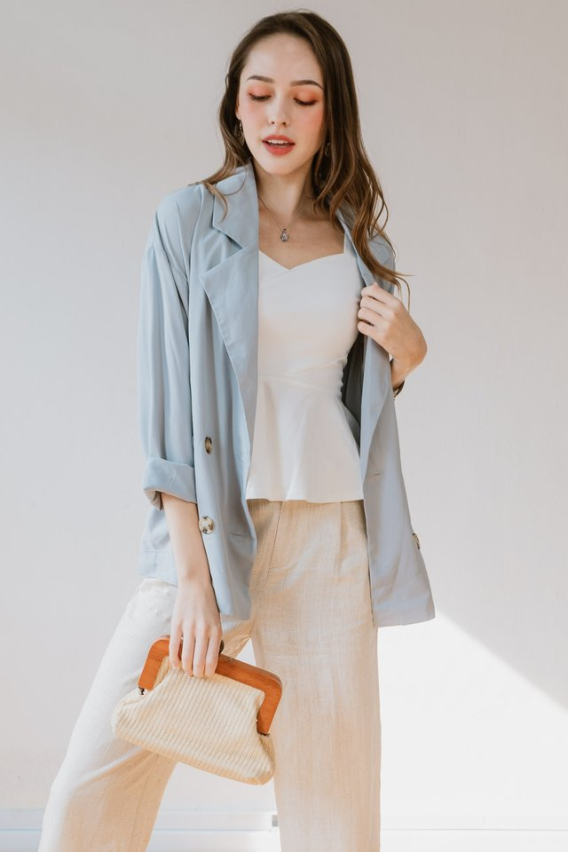 ACW Chiffon Oversized Blazer in Moss Green