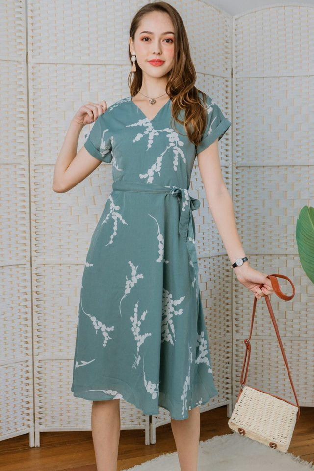 Botanical Sash Midi Swing Dress in Seafoam
