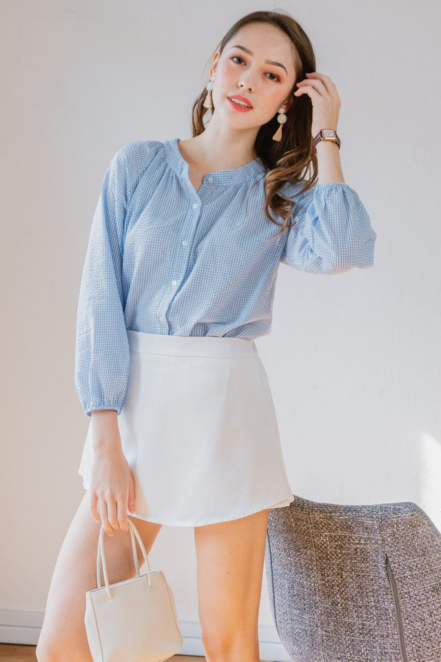 Gingham Balloon Sleeve Shirt in Blue