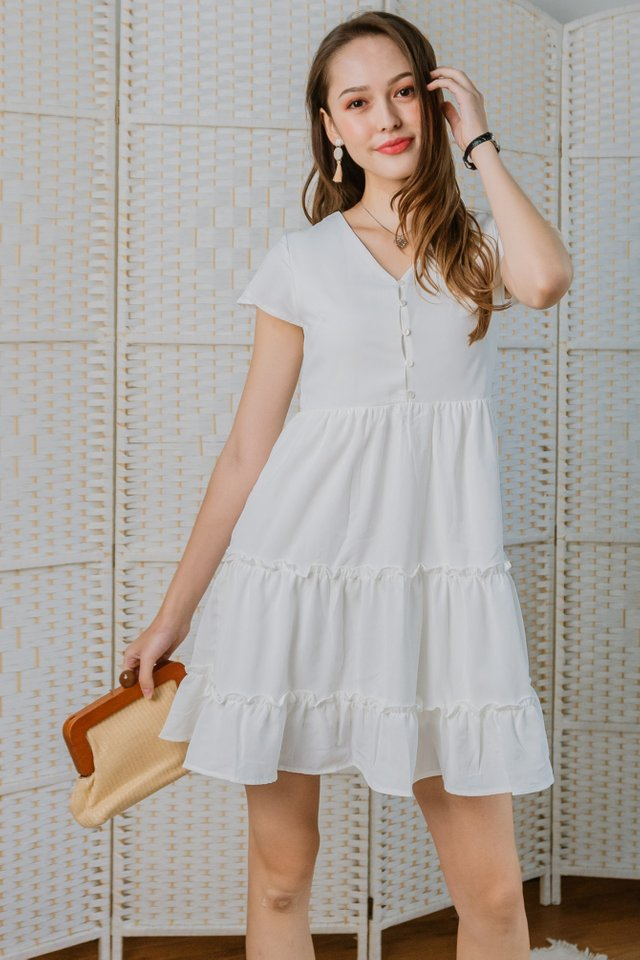 ACW Ruffle Button Down Babydoll Dress in White