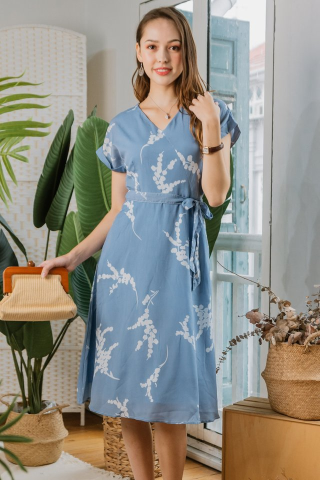 Botanical Sash Midi Swing Dress in Ash Blue