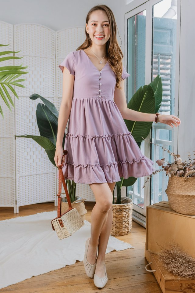 ACW Ruffle Button Down Babydoll Dress in Blush