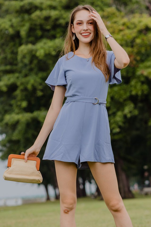 ACW Loop Buckle Belt Romper in Ash Blue