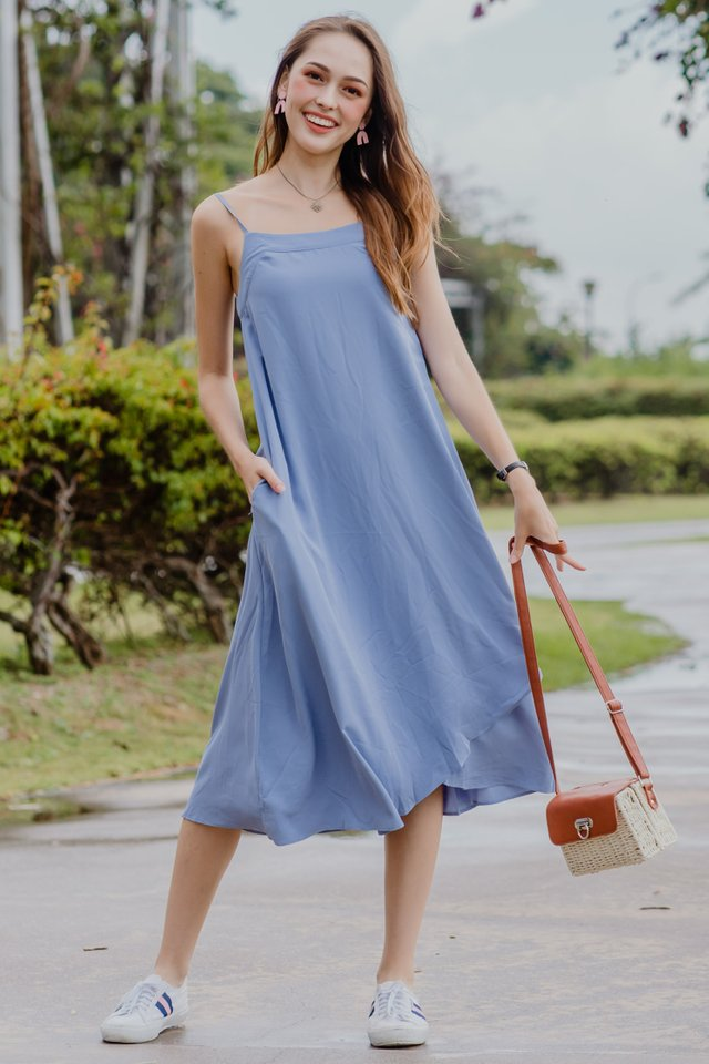 ACW Curve Overlap Midi Dress in Ash Blue