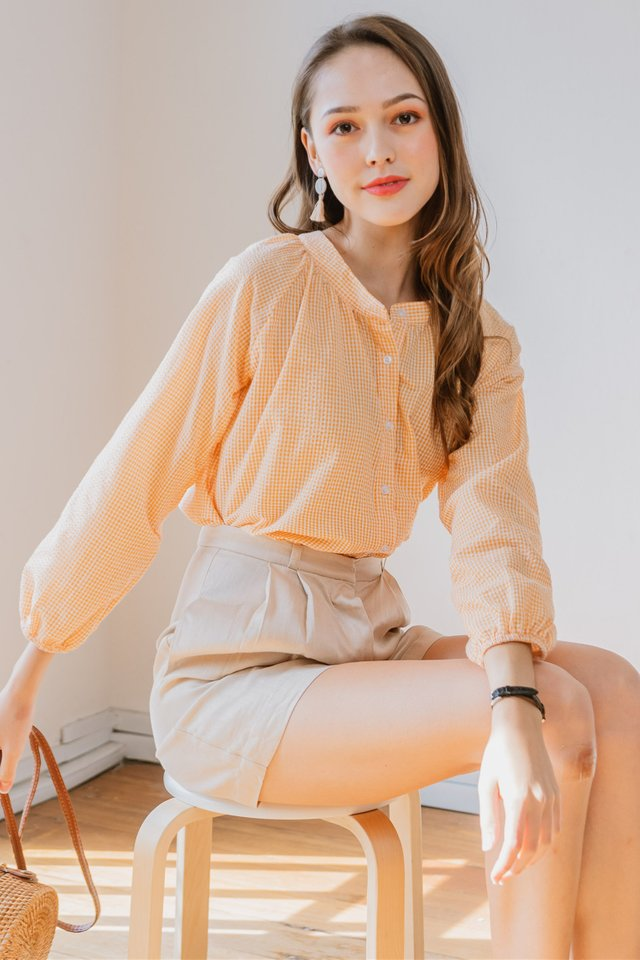 Gingham Balloon Sleeve Shirt in Orange