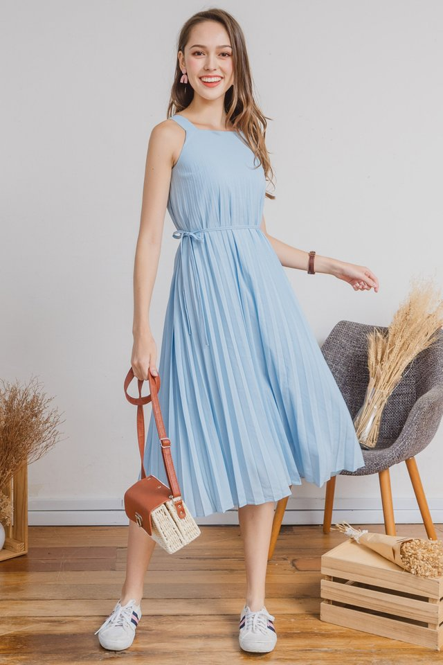 ACW Pleated Cut In Midi Swing Dress in Sky Blue