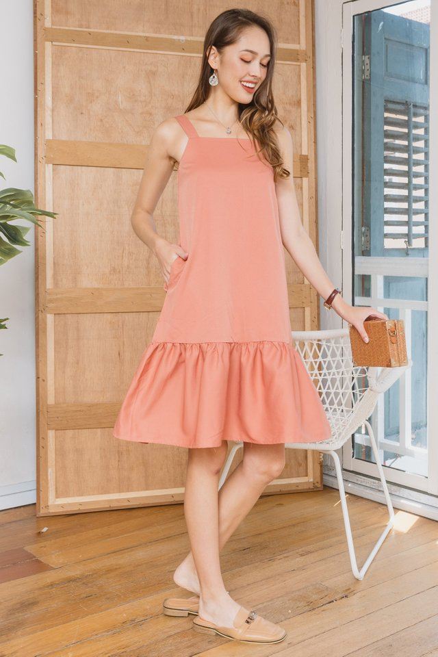 ACWxClara Drop Hem Thick Strap Dress in Coral Orange