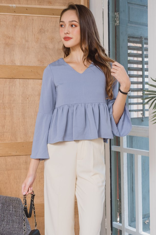 ACWxClara Bell Sleeve Babydoll Top in Ash Blue