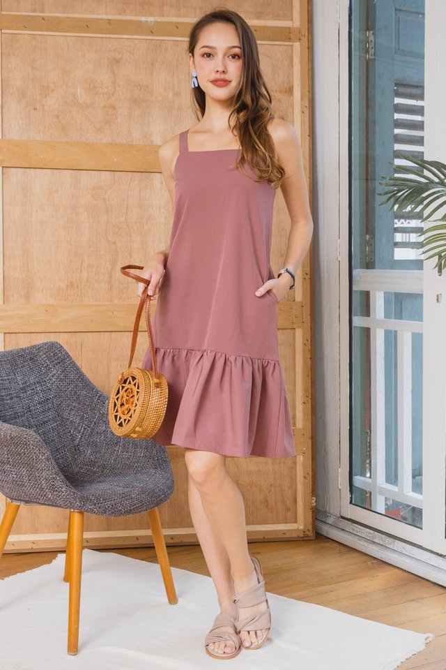 ACWxClara Drop Hem Thick Strap Dress in Mauve