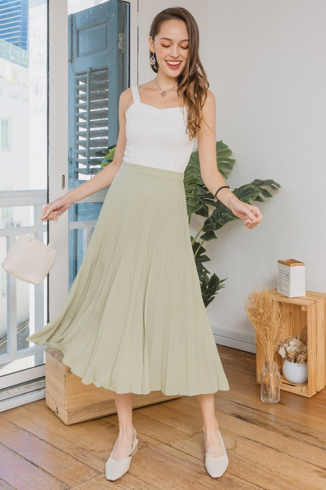 Fine Pleats Midi Skirt in Sage Green