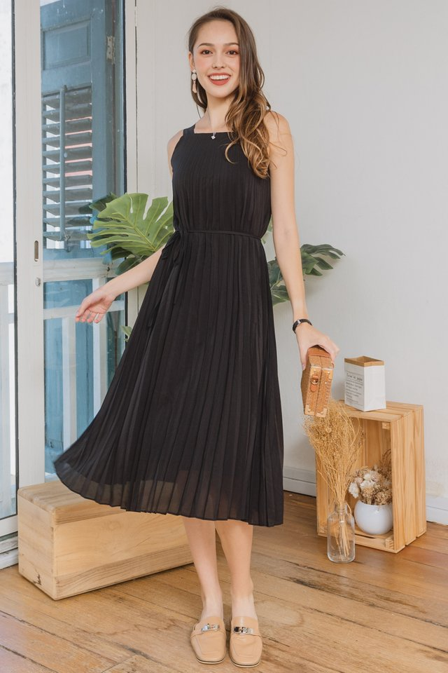 ACW Pleated Cut In Midi Swing Dress in Black