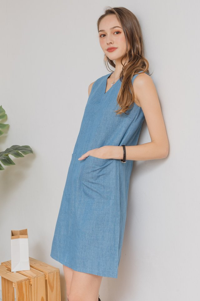 ACW Denim Double Pocket Shift Dress