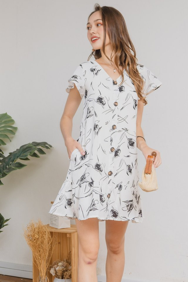 ACW Monochrome Sketch Flutter Hem Dress in White