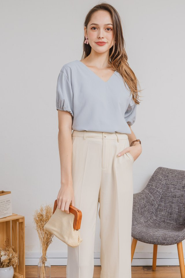 ACW Puff Sleeve Top in Ash Blue