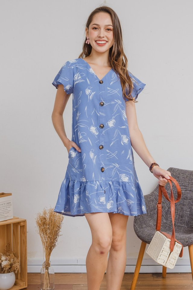 ACW Monochrome Sketch Flutter Hem Dress in Sky Blue