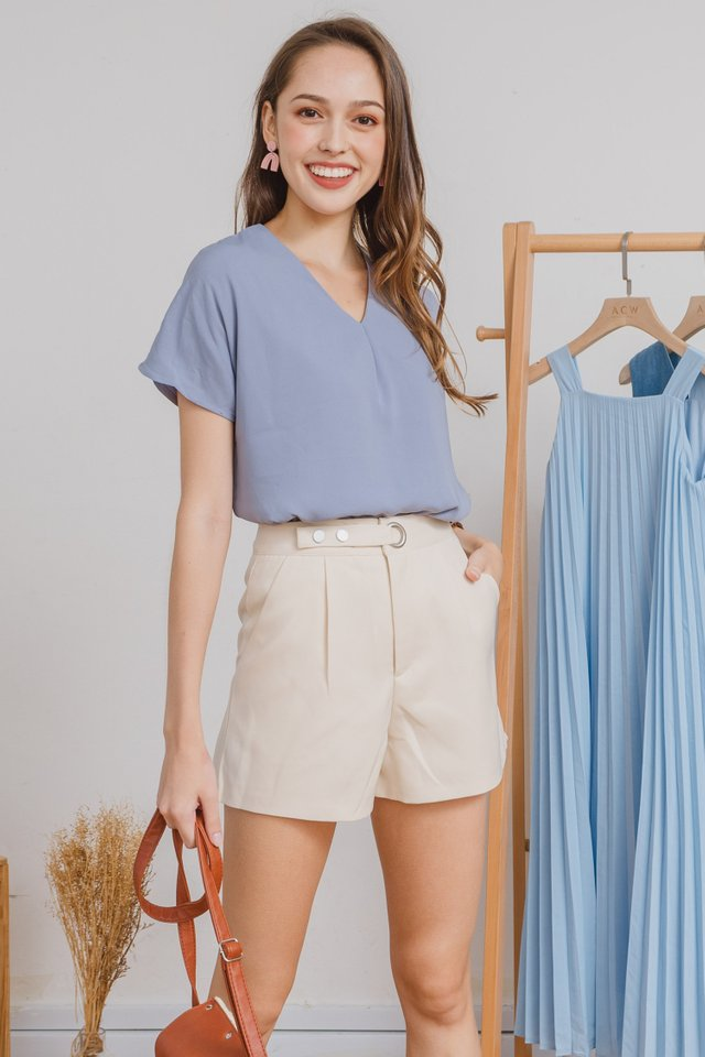 ACW Pleated Box Top in Ash Blue