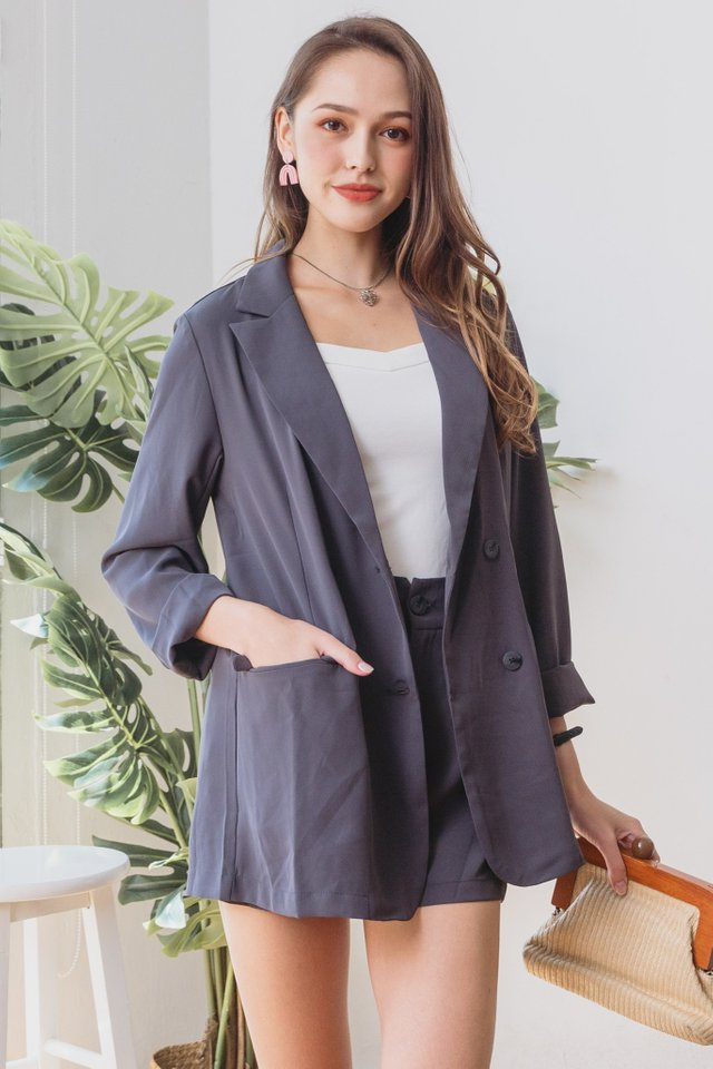 *Backorder* Two Piece Blazer-Shorts Set in Dark Grey